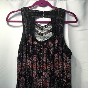 Free People maxi black floral dress 6 lace  inset